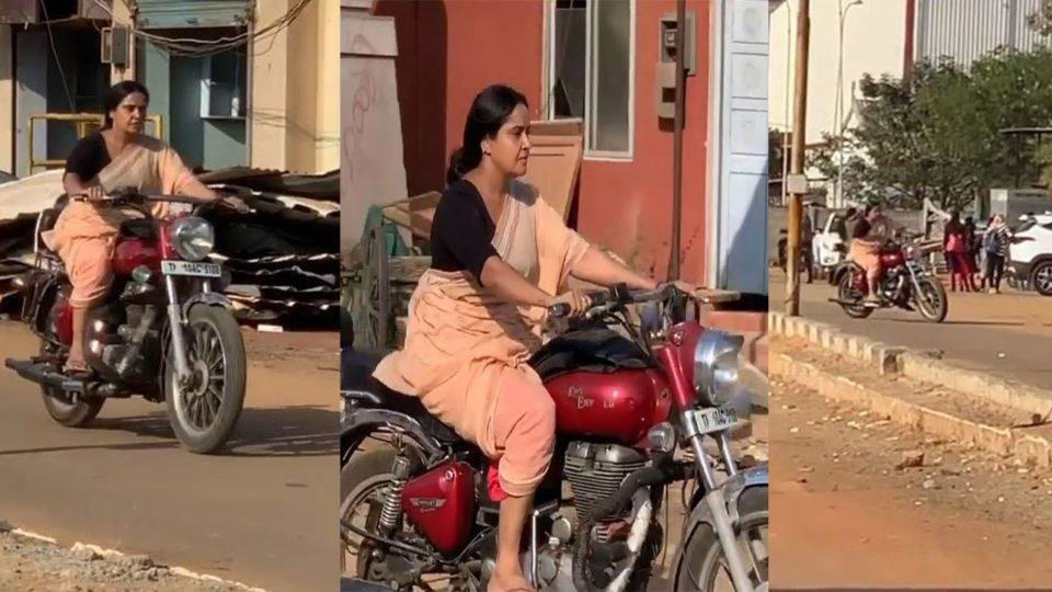 senior actress driving a bullet