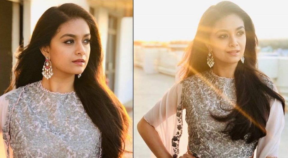 Actress Keerthi Suresh in a cameo style dress