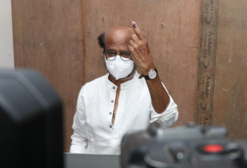 Superstar #Rajinikanth cast his vote at StellaMaris