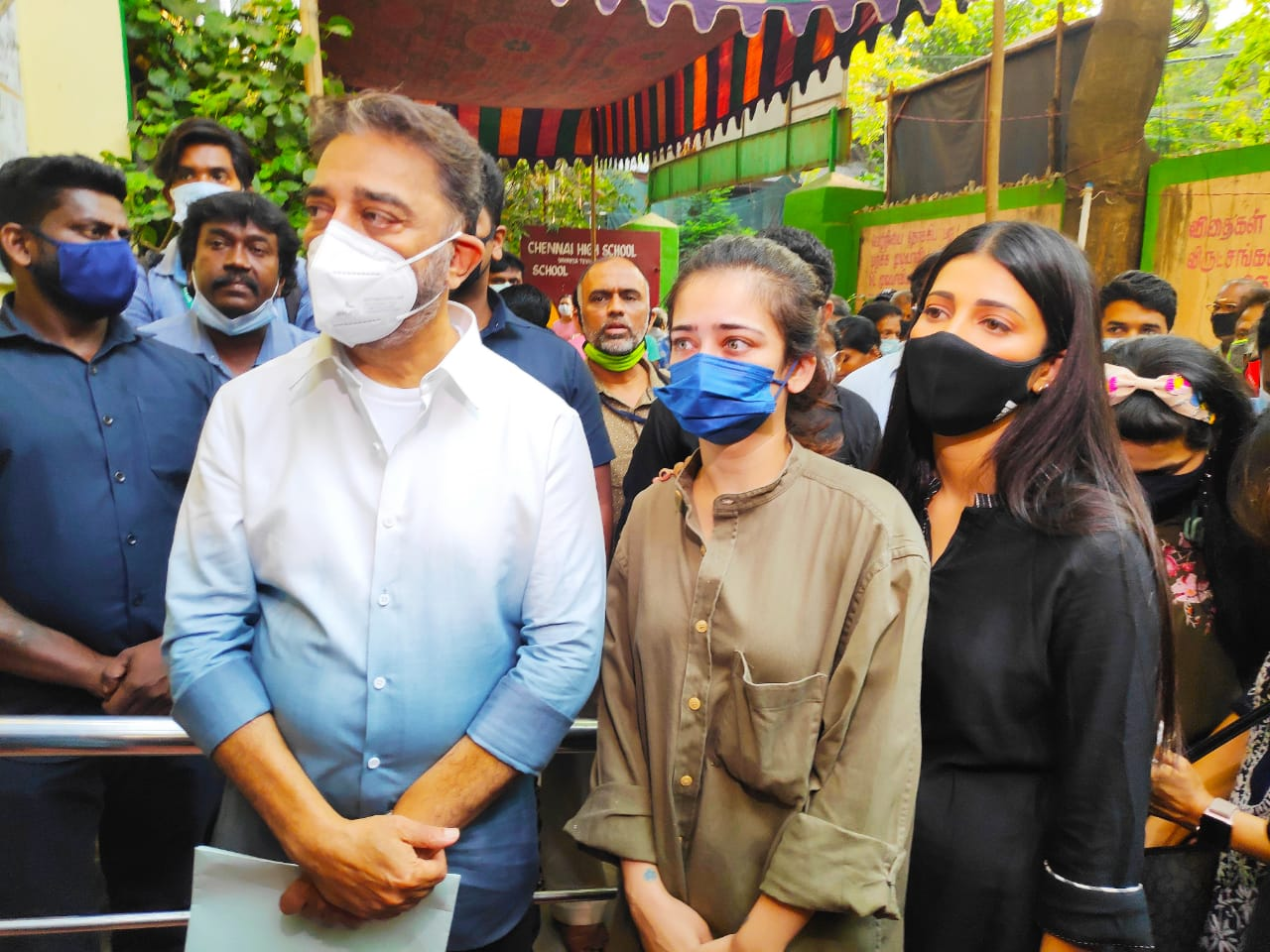 Actor Kamal Haasan came with family and voted