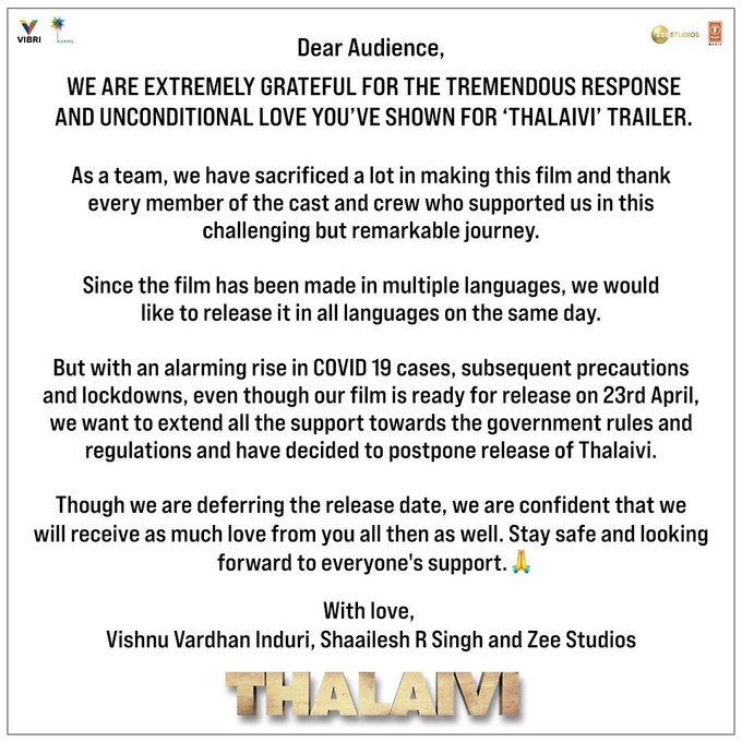 Thalaivi release postponed