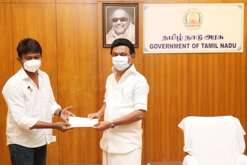 Udhayanidhi Stalin donates 25 lakhs to CM Relief Fund