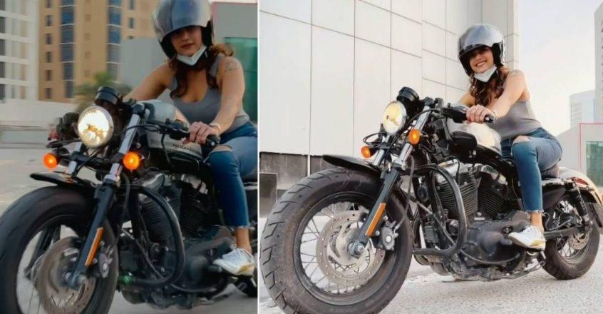 Vishal is a film actress came back on a 'Harley Davidson' bike