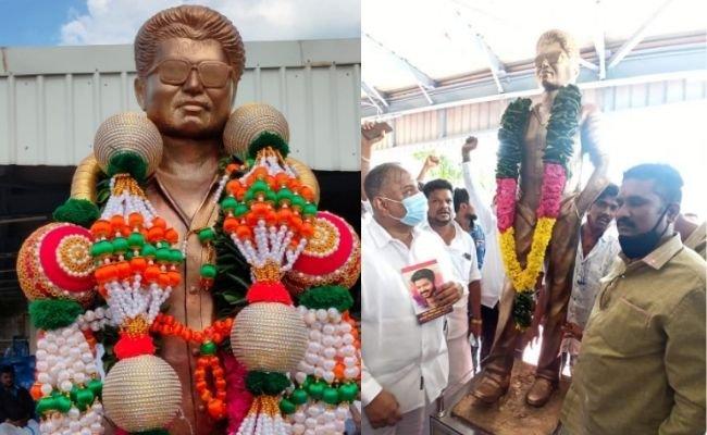 Vijay's life-size statue erected at Panaiyur