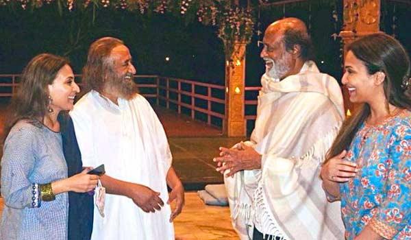 Actor Rajini meets Sri Sri Ravi Shankar