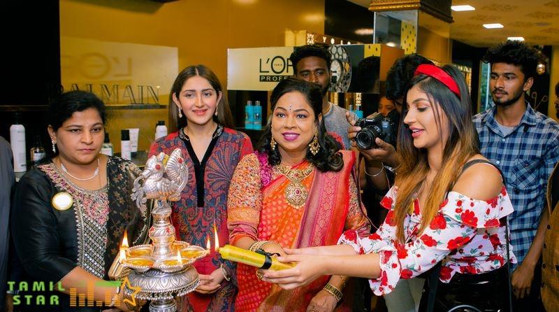 RJ Balaji, Sayyeshaa, Yashika Anand, and Athulya at Yolo Salon Launch (3)